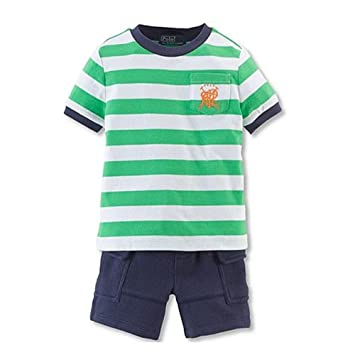 96a6e71e5b81b Image Unavailable. Image not available for. Color  Ralph Lauren Polo Baby  Boys Striped Pocket Tee Shirt   Cargo Shorts Set ...