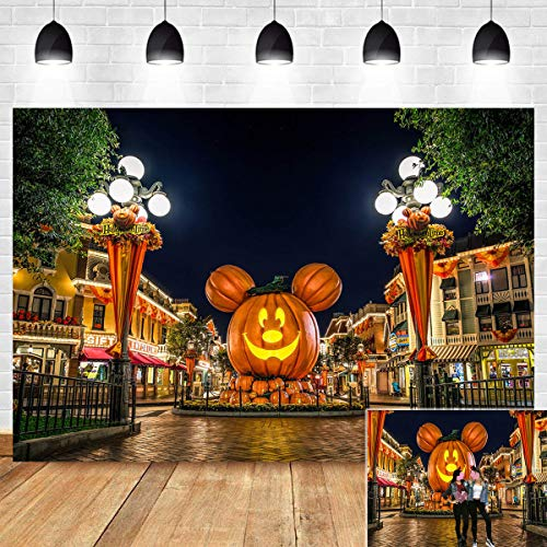 Photos Disney Halloween (Night Scene for Photo Booth Studio Props Background Vinyl 7x5ft Cartoon Mouse Pumpkin Lantern Halloween Party Photography Backdrop Thanksgiving Decoration Banner Birthday Supplies Family)