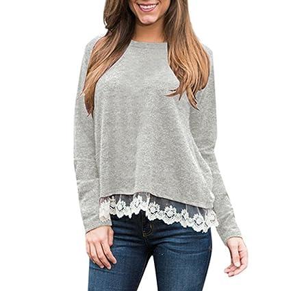 Blusen Damen Spitze Pullover Sweatshirt Langarmshirt Frauen Casual Tägliche  Bluse Nähen Langarm Strand Shirt Tops Bluse Oberteile,ABsoar  Amazon.de  ... f311f4109e