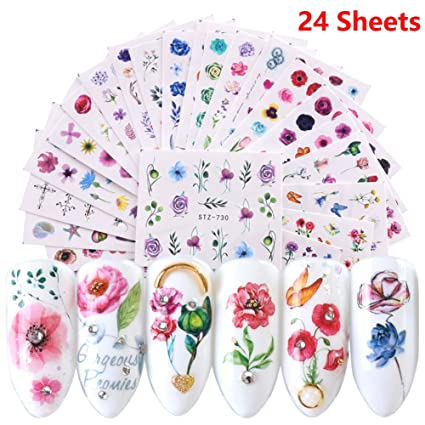 Amazoncom Pegatinas Para Uñas Con Diseño De Rosas Para