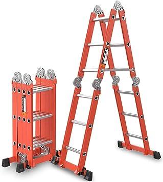 Escalera plegable, capacidad de carga de elevación multiusos de la escalera de la ingeniería de la aleación de aluminio de 4m m 150kg: Amazon.es: Bricolaje y herramientas