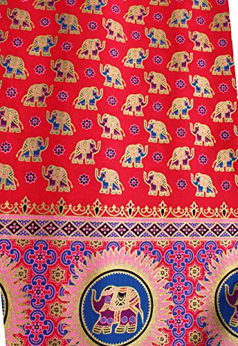 RaanPahMuang Thick Batik Thai Fabric For DIY Projects - Elephants 40x70 inch, Red