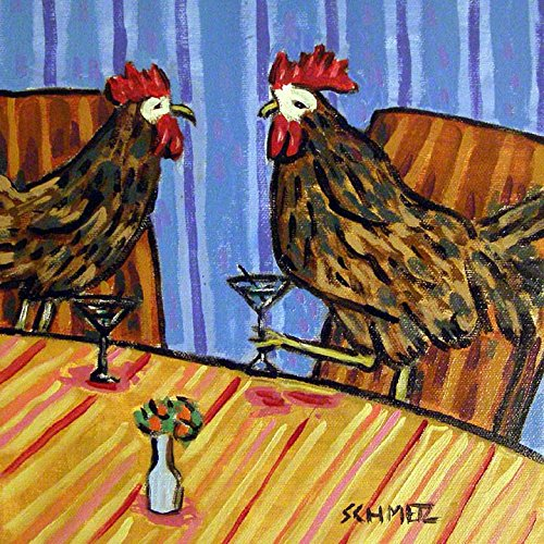 Chicken friends Hen Rooster at the Martini bar farm animal art tile coaster gift (Hen Rooster Coasters &)