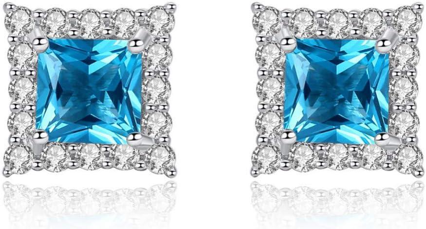 AGMKV 925 Pendientes de Plata de Ley con zafiros Cuadrados para Mujer Pendientes de Piedras Preciosas envueltos Brillantes pequeños Regalo de joyería