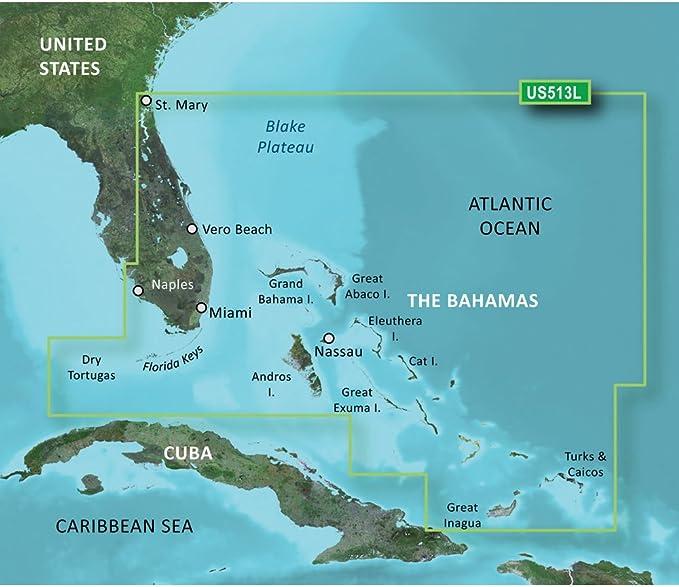 Florida To Bahamas Map Amazon.com: Garmin BlueChart g2 Vision HD   VUS513L   Jacksonville