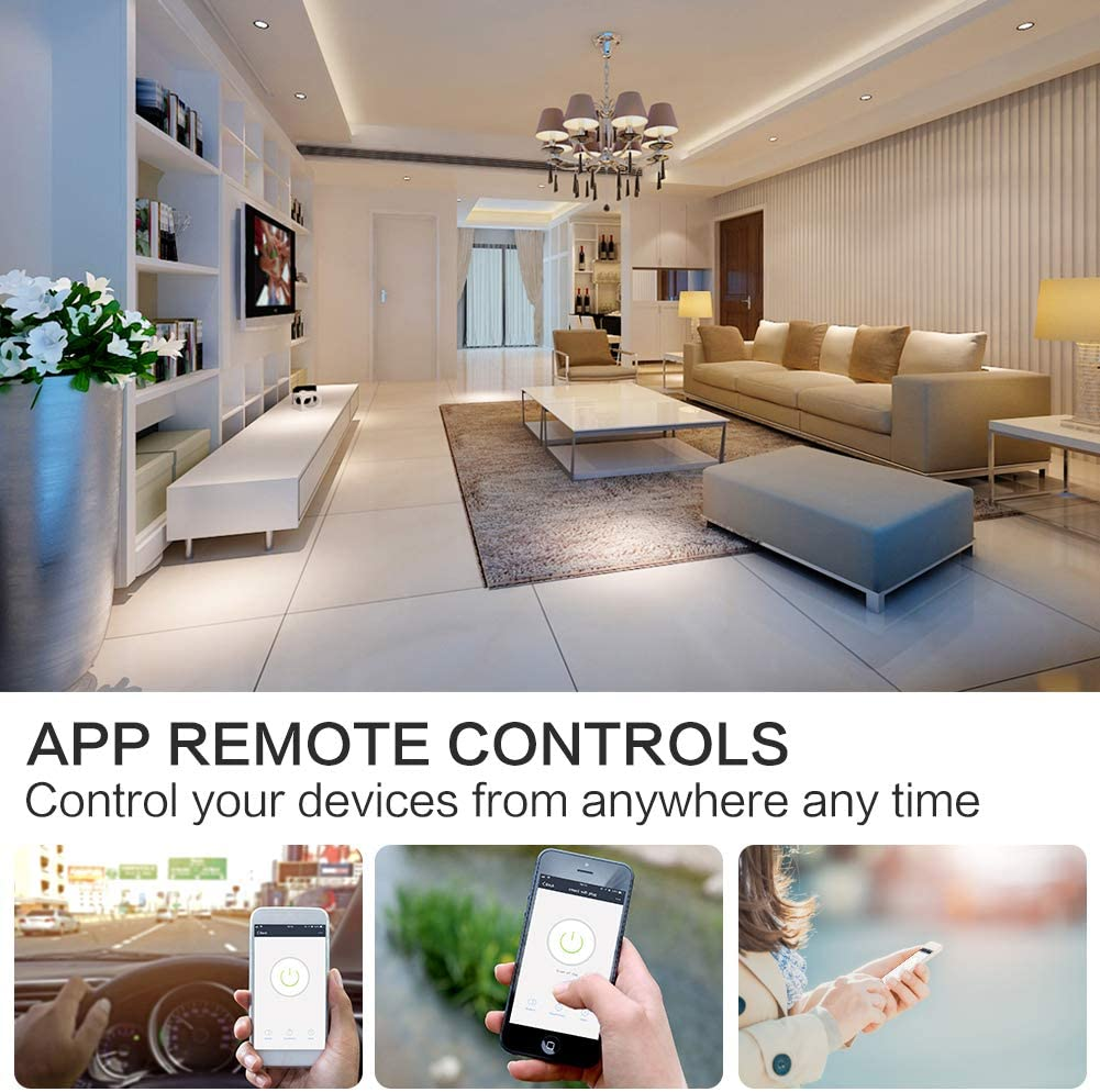 Work with  Alexa//Google Home//IFTTT 2 Pack Avatar Controls Smart Alexa Socket Support Remote Control Voice Control Timer Function WiFi Smart Plug