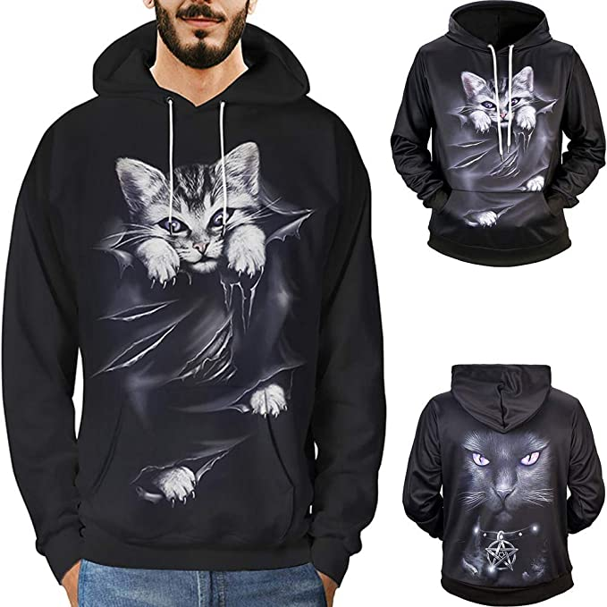 Redshop Pullover for Men Hoodie Mens 3D Printed Cat Pullover Long Sleeve Hooded Sweatshirt Tops at Amazon Mens Clothing store: