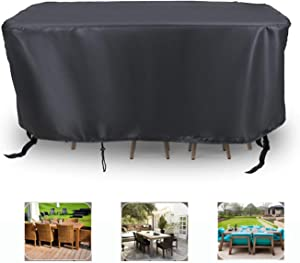 Relime Rectangle Patio Furniture Cover 106x70x35 Inch, Outdoor Waterproof Windproof Anti-UV Table Chairs Sofa Cover with Drawstring & Buckles