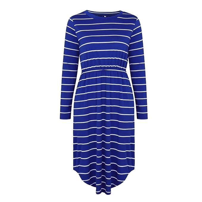 NiSeng Mujer Vestidos de Fiesta Rayas Cortos Vintage Elegantes Mango Largo Blusa Vestidos Azul S
