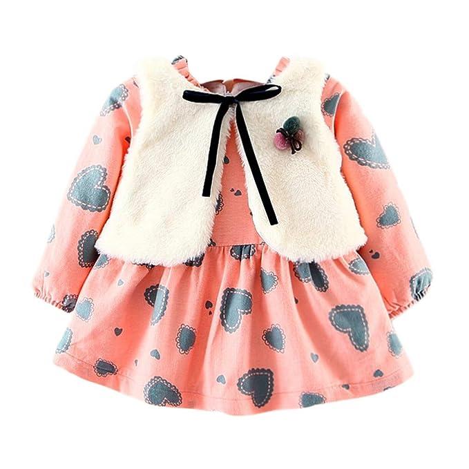 d9b2cd732 LANSKIRT Ropa para Recién Nacido Infantil bebé niños niñas Gruesa de Manga  Larga Vestido Impreso Amor Conjunto de Ropa de Trajes Vestido + Chaleco  Invierno ...