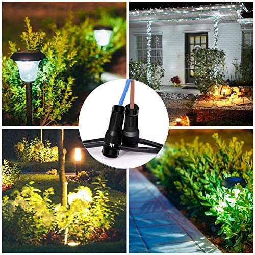 HSJL 40PCS Low Voltage Landscape Lighting Wire Connector- Easy to Connect and Transform- for 12,14,16 Gauge Cable-Outdoor Lights Cable Connectors Work with Malibu Paradise and Other Outdoor Lighting