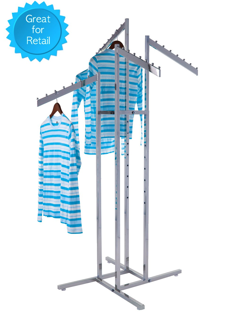Only Garment Racks - Heavy Duty Chrome 4 Way Rectangular Arm Clothing Rack, Adjustable Height Waterfall Arm Garment Rack, Perfect for Retail Clothing Store Display - Rectangular Tubing Slant Arms