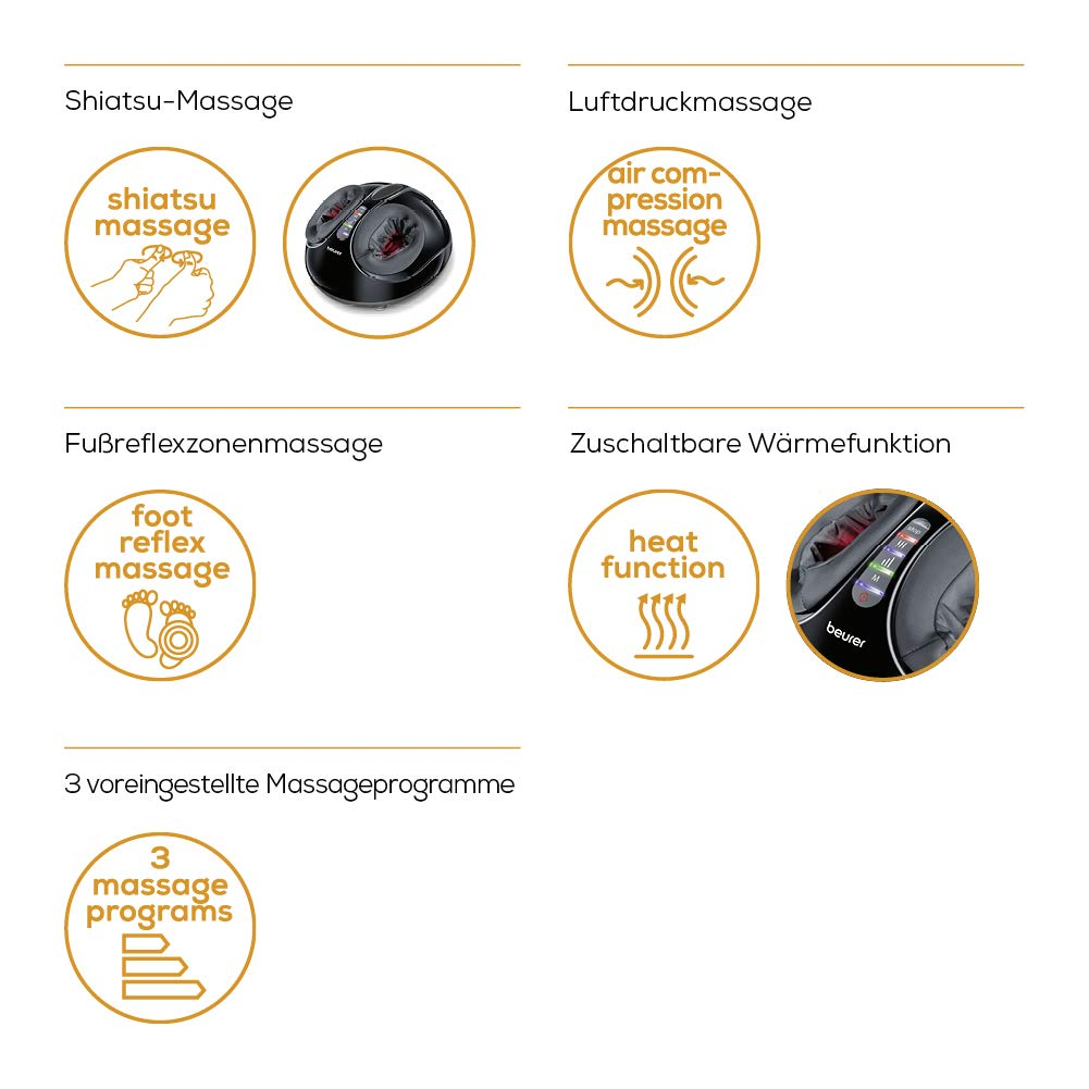 Beurer FM 90 Fußmassagegerät drei Shiatsu-Massage Kombinationen
