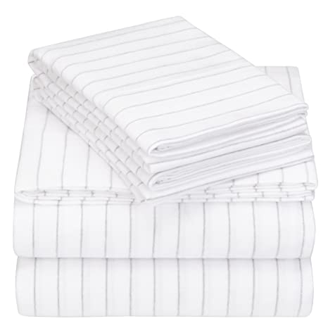 Pinzon 160 Gram Pinstripe Flannel Sheet Set   Queen, White Pinstripe   Pz Plflan Cp Qn by Pinzon By Amazon