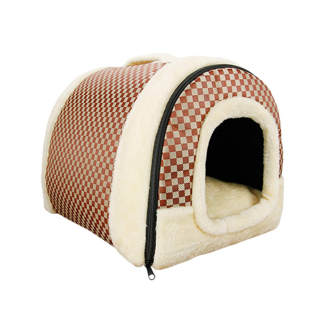 L Hxyan Kennel Removable And Washable Medium And Large Dogs Pet Litter Brown Plaid Four Seasons Universal (Size   L)