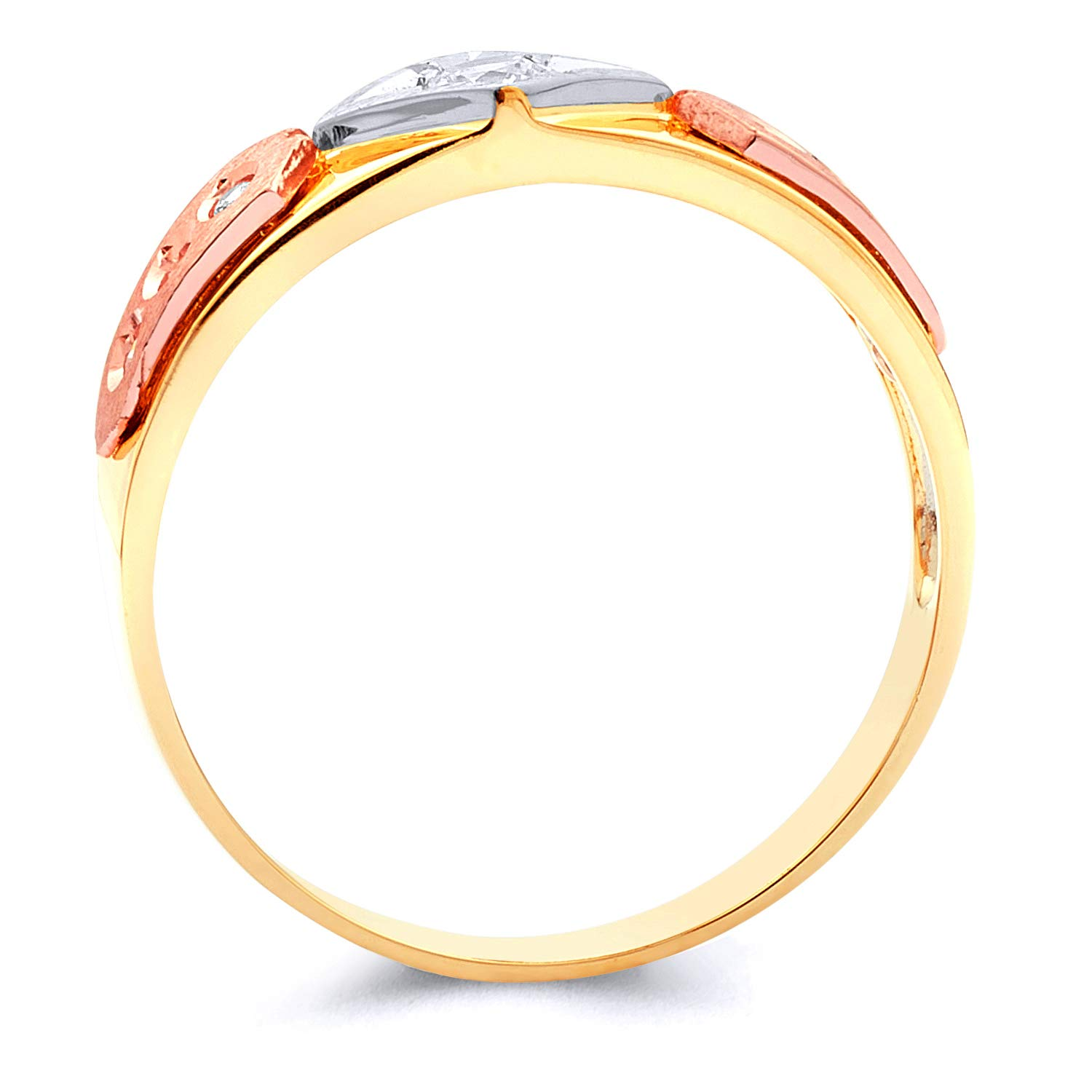 Wellingsale Mens Solid 14k Tri 3 Color Gold Polished CZ Cubic Zirconia Wedding Band Size 10