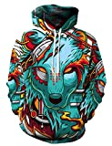 xxxl hooded pullover - KamiraCoco Unisex 3D Galaxy Printed Pullover Big Pockets Drawstring Hoodie Hooded Sweatshirt For Men and Women (XXL/XXXL, Red-Eyed Wolf)