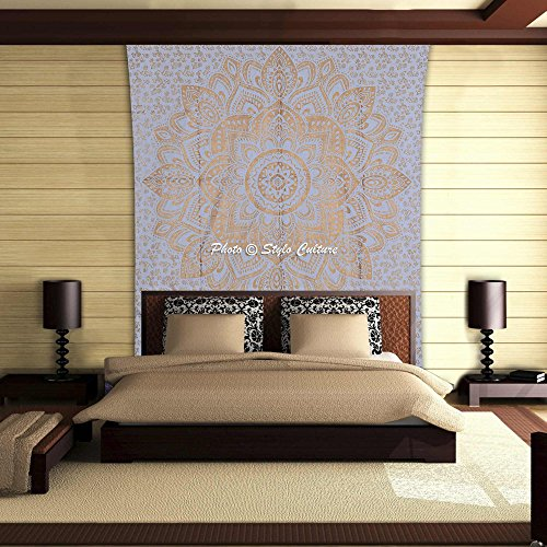 Stylo Culture Ombre Mandala Tapestry Cotton Gold White Twin Printed Floral Wall Hanging Bedsheet Throw Beach Rug, Picnic Rug, Wall Decoration, Room ()