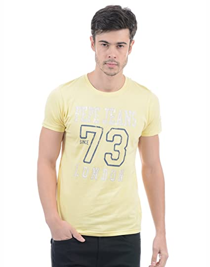 8220a2fabd Pepe Jeans Yellow Mens T-Shirt  Amazon.in  Clothing   Accessories