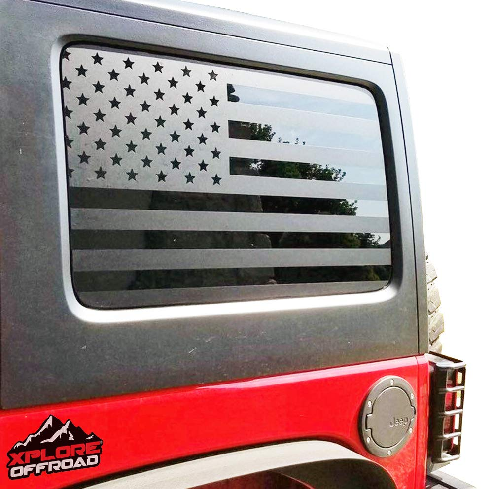 4 Door Jeep Wrangler Free Installation Tool Matte Black American Vinyl for Rear Side Window JKU 2007-2017 Cut To Shape // No Trimming Required Precut USA Flag Window Decals Includes Pair