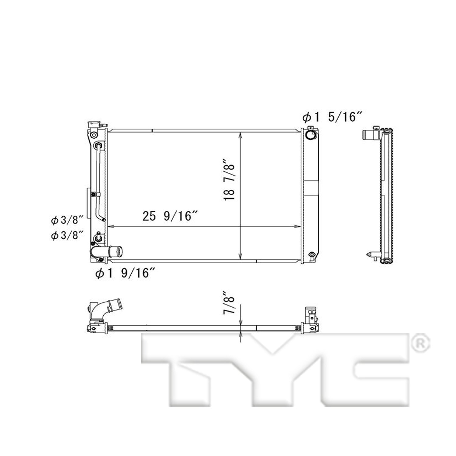 Tyc 13256 Replacement Radiator Automotive Charging Circuit Diagram For The 1949 Cadillac All Models