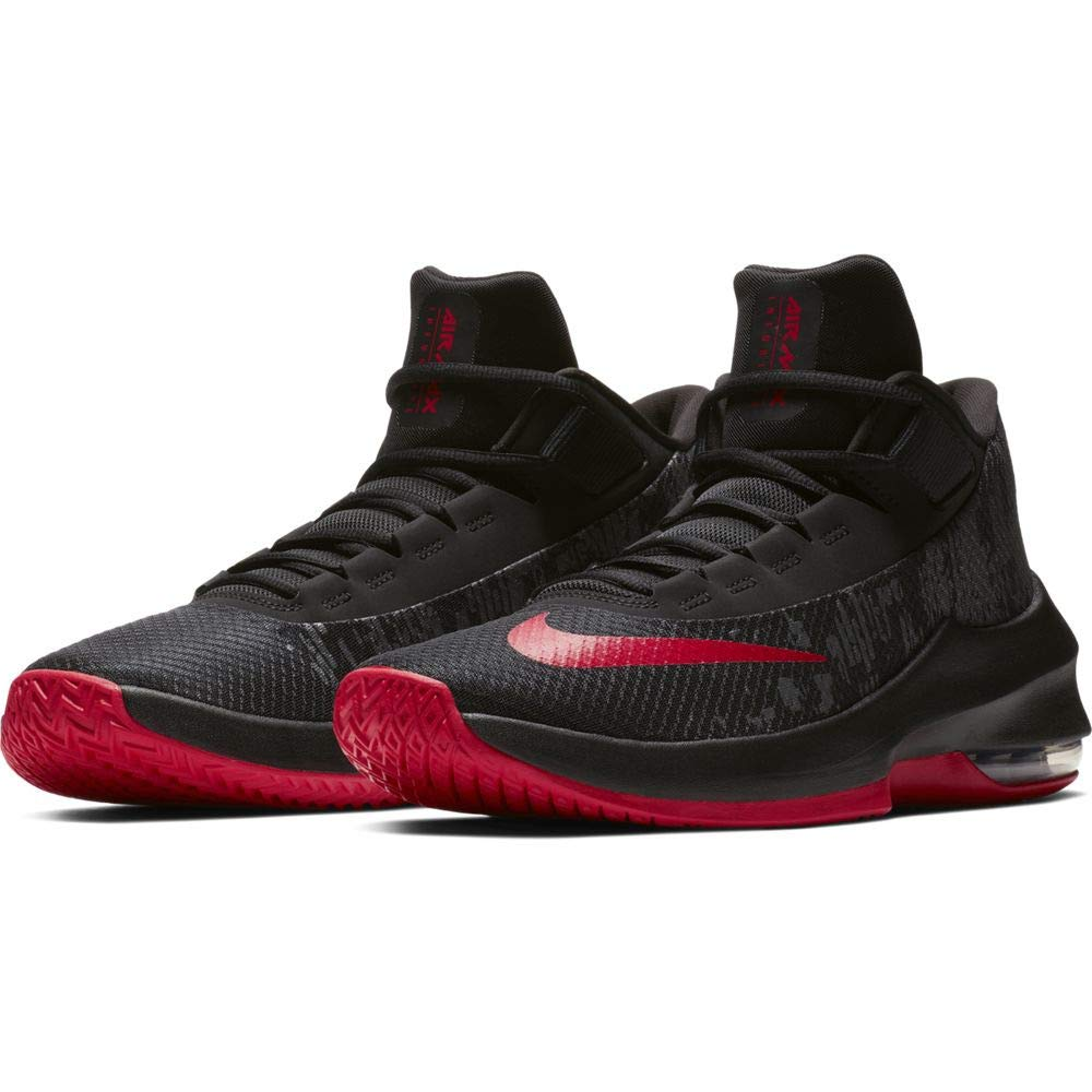 Nike mens air max infuriate mid black university red basketball shoes aa uk  us buy online d4bf3efba