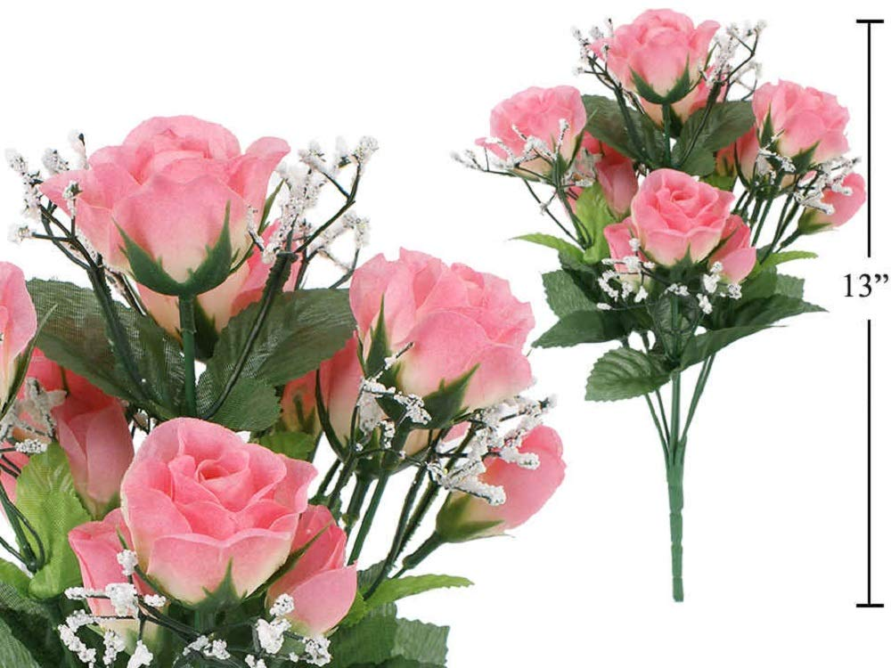 J Home Pink Artificial Flower 7-stem Small Roses with Baby Breath