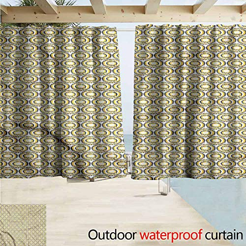 MaryMunger Blackout Curtain Grey and Yellow Ikat Form Bulls Eye Rod Pocket Energy Efficient Thermal Insulated W55x63L Inches