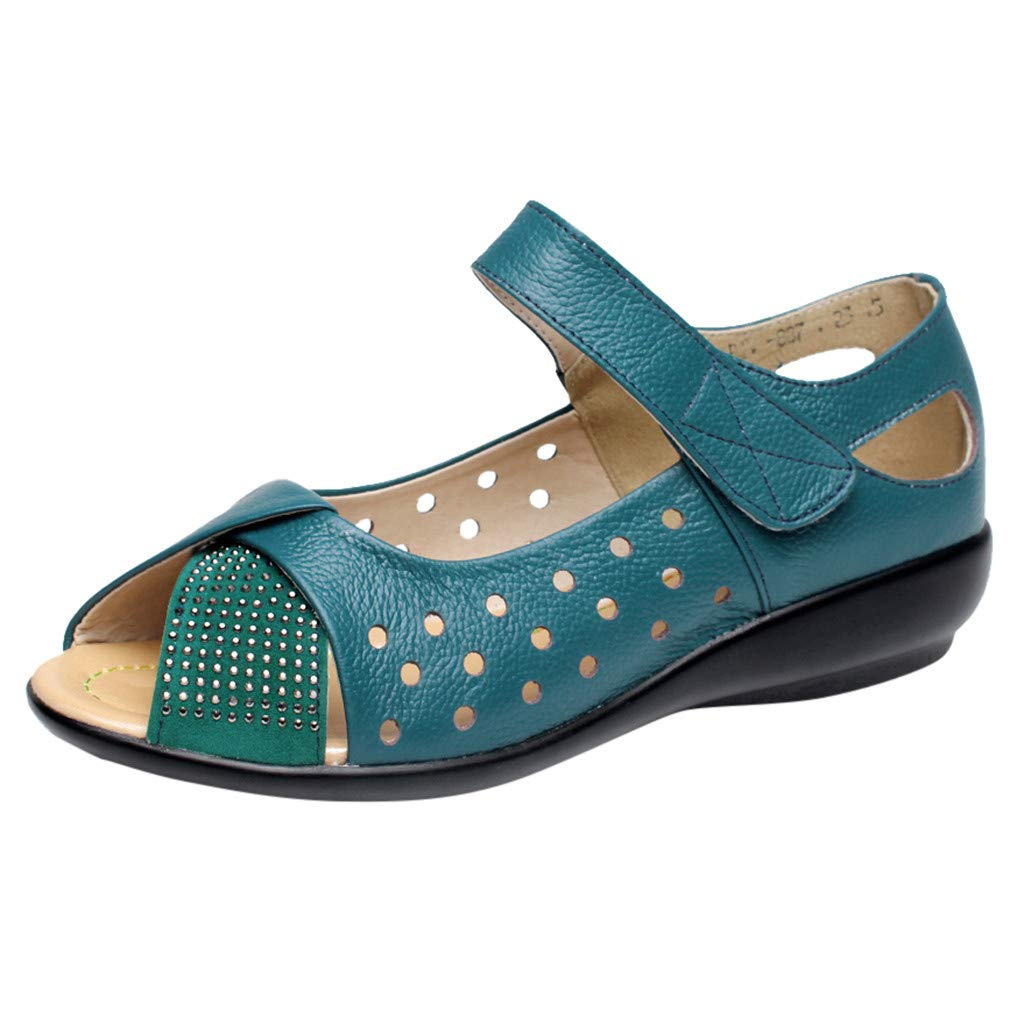Tantisy ♣↭♣ Womens Wedge Sandals Velcro Shoes/Comfort Platform Fish Mouth Summer Flats Mom Slip On Blue