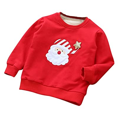 Baby Boys Girls Warm Hoodie Pullover Outwear Christmas Deer Sweater Clothes For Christmas Gift