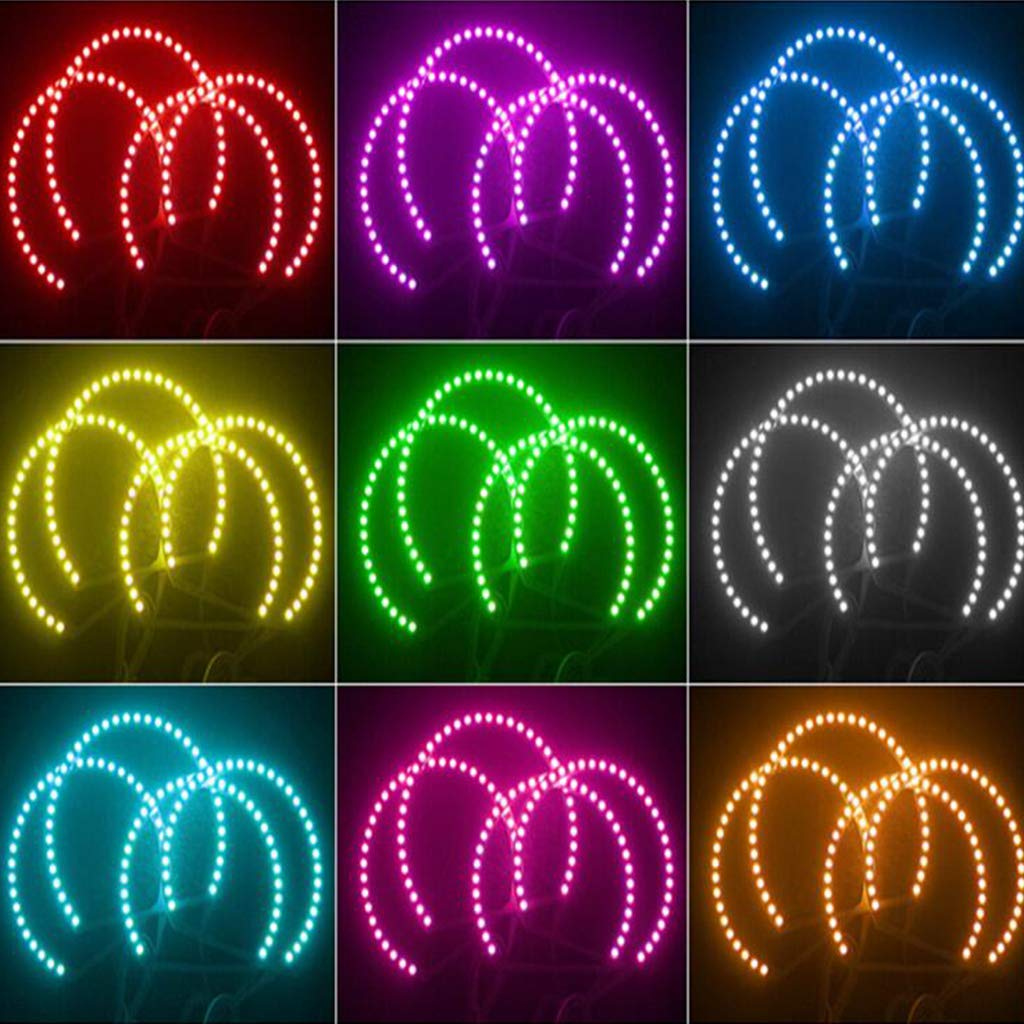 MM2pc Car Ring 5050 Halo Rings for Headlight Car Angel Eyes RGB Semicircle 12V LED Controller 24Keys Lobounny 131+146
