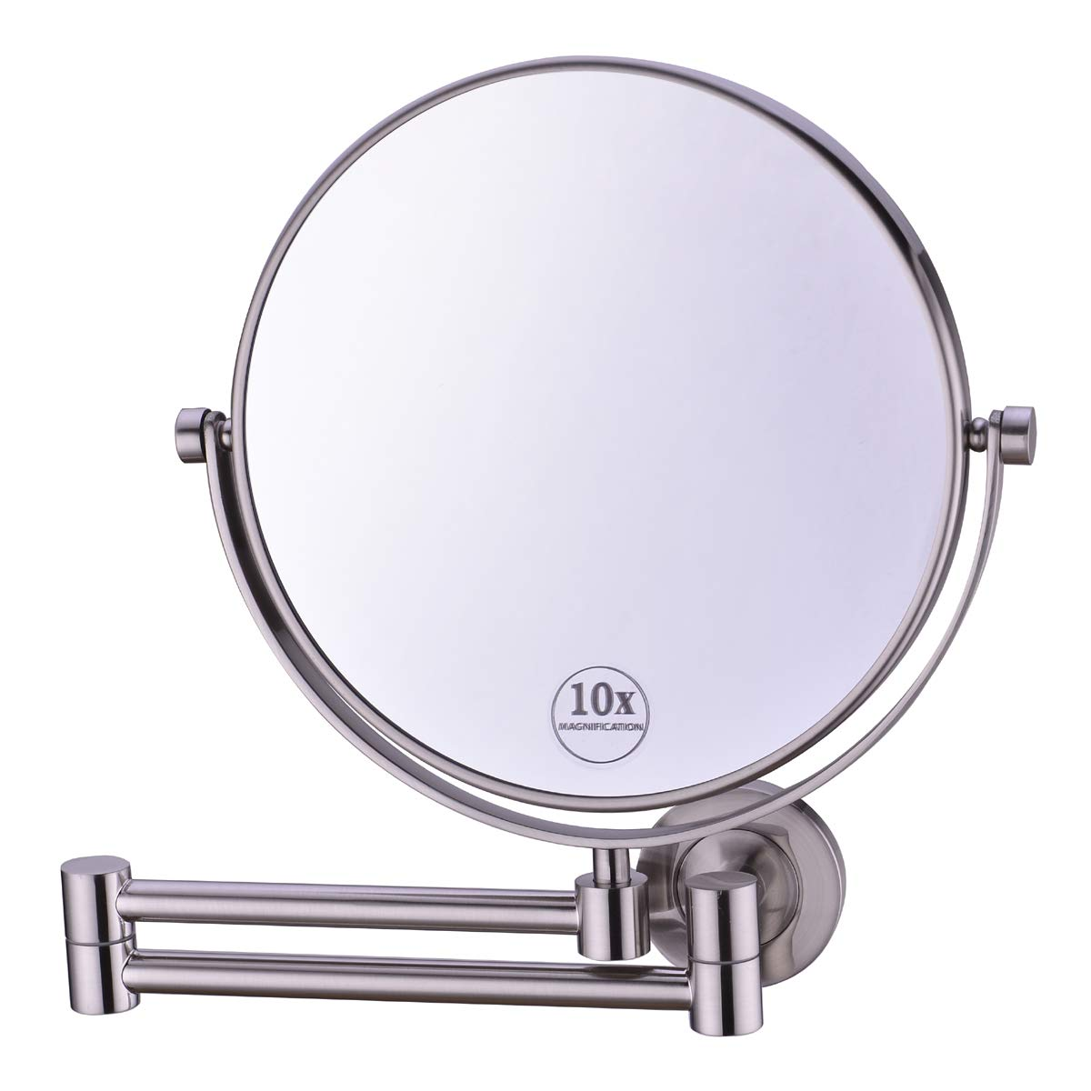 Anpean 8 Inch Double-Sided Swivel Full Brass Wall Mounted Makeup Mirror with 10x Magnification, Brushed Nickel by Anpean