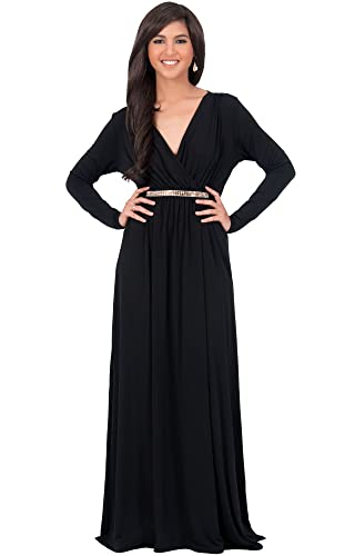 KOH KOH Womens Long Sleeve Kaftan V-neck Flowy Formal Winter Gowns Maxi Dress
