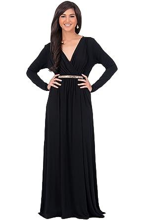 KOH KOH Womens Long Sleeve Kaftan V-Neck Flowy Formal Winter Gowns ...