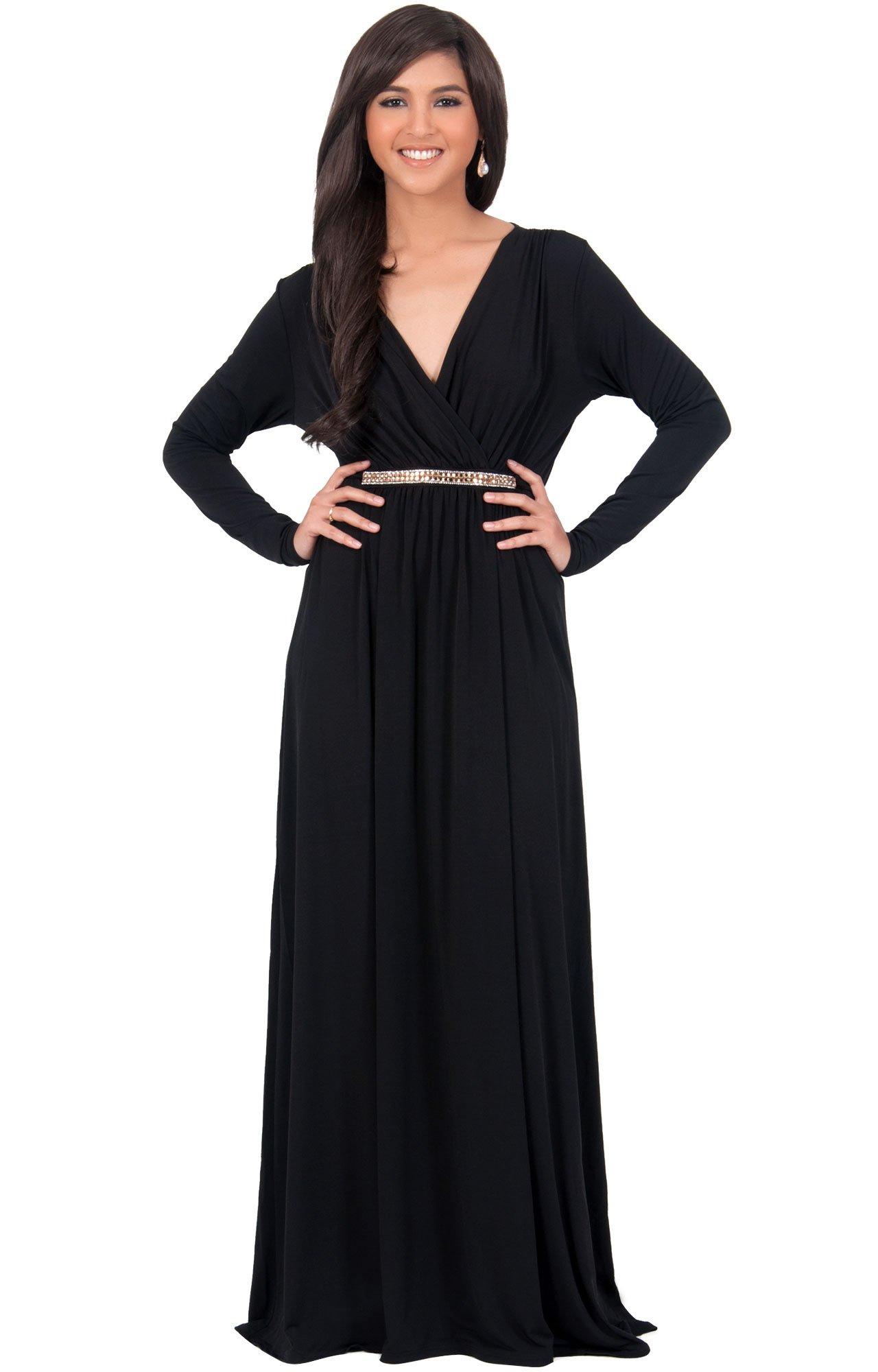 Sleeve Kaftan V-Neck Flowy Formal Winter Gowns