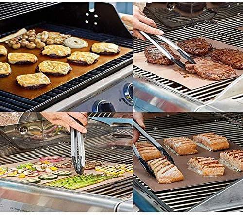 LNNZPL Barbecue Grill Tapis 6 Pcs antiadhésif réutilisable Haute température Résistance Easy Clean Portable Grill Mat Teflon grillade Mat Peut Rendre Votre Barbecue Plus délicieux