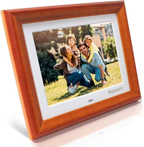 8 Inch Digital Picture Frames,Electronic Picture Frame Wooden Dressed HD 800×600 4:3 LCD Widescreen,720P/1080P Video Picture Display,Photo Auto Rotate,Calendar,Clock,Timer On/Off,Remote Control-White
