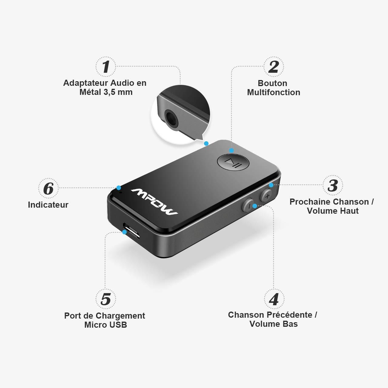 para Coche Mpow Receptor Bluetooth Bluetooth 4.0/+ EDR, A2DP, micr/ófono Integrado con Adaptador de Audio de 3,5 mm.