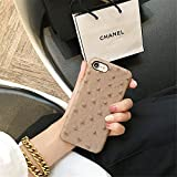 Ostrich Skin PU Leather iPhone 8 Case - Back Cover (Light Brown)