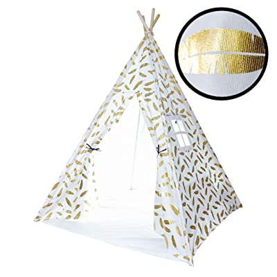 Kids Teepee Tent for Kids, No Toxic Chemicals Added, Carrying Case, Gold Feathers Play Tents Indoor for Boys & Girls, Large Tipi Toddler Dog Baby Boy Adult Children Adults Dogs Childs Reading Nook: Toys & Games