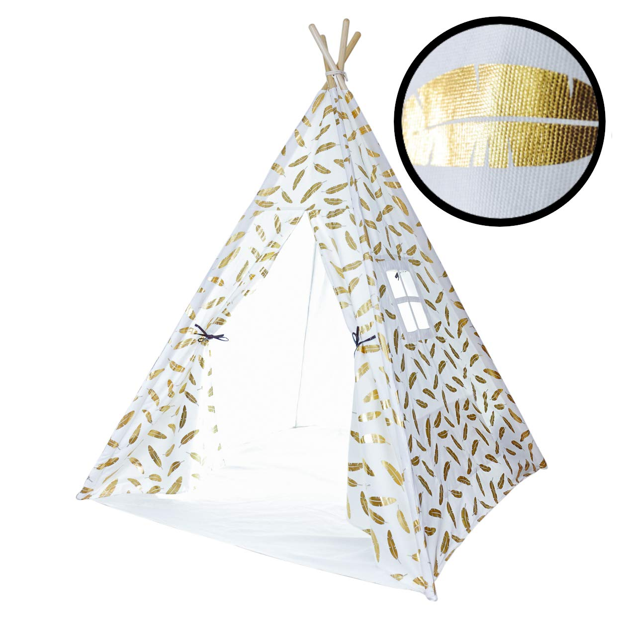 A Mustard Seed Toys Teepee Tent for Boys and Girls, Gold Feathers, Portable Playhouse with Canvas Carrying Case, No Extra Chemicals by A Mustard Seed Toys (Image #1)