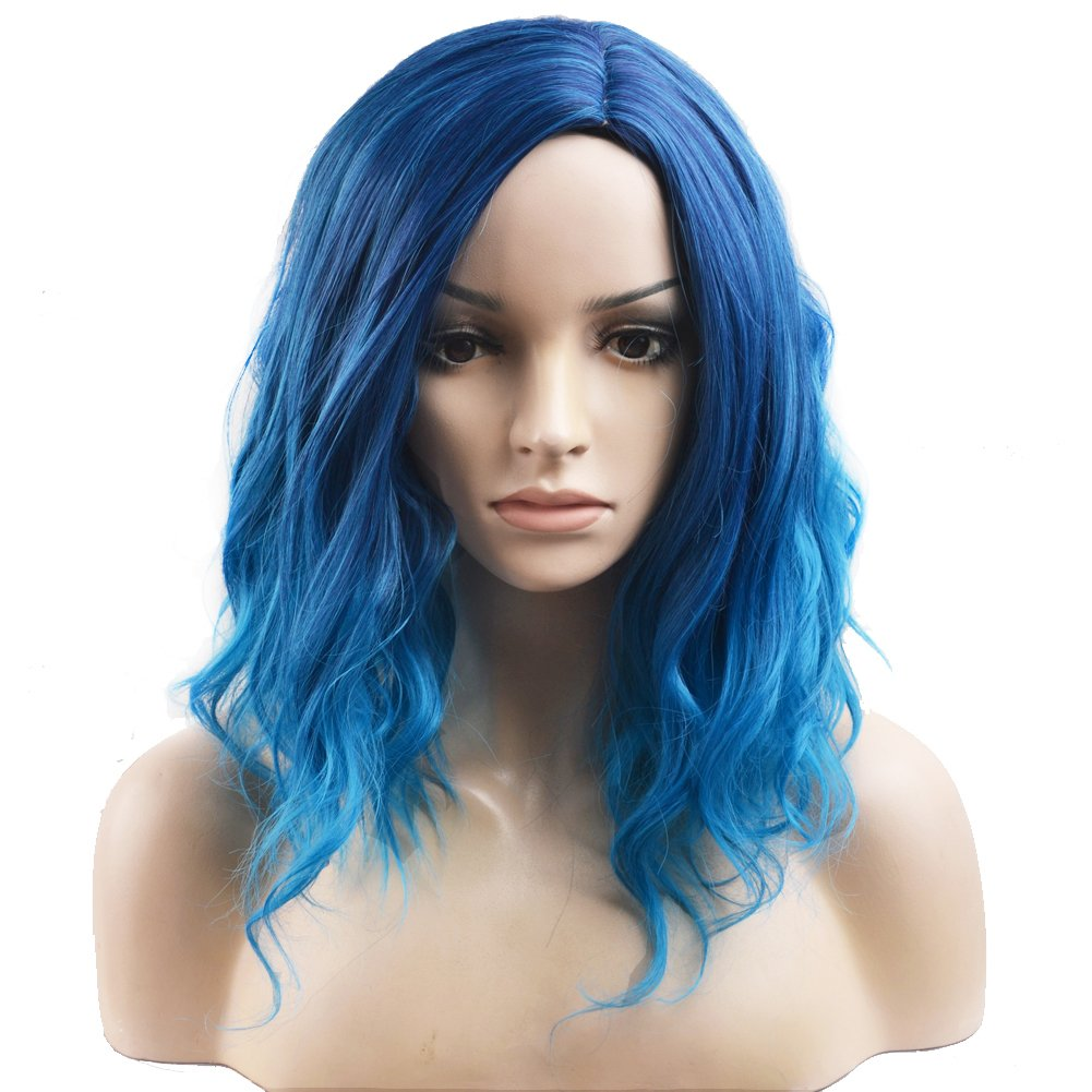 BERON Short Curly Bob Wig Charming Women Girls Beach Wave Wigs for Cosplay Costume Party Wig Cap Included (Mix Blue)