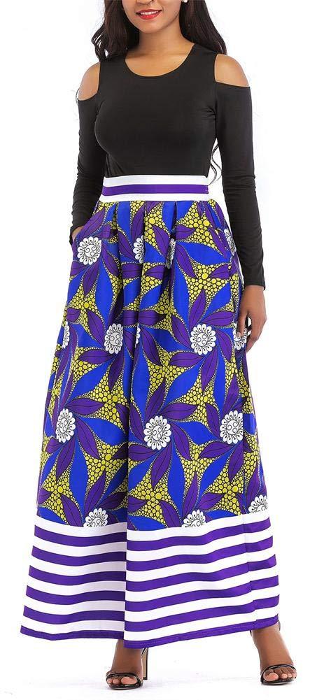 VLUNT Women's African Floral Print A Line Long Skirt Pockets Two Pieces Maxi Dress