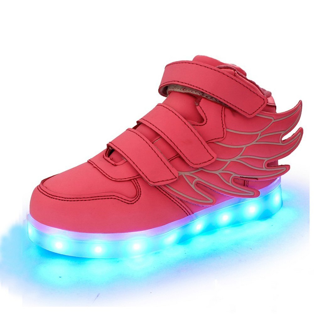 LED Light Up Shoes USB Flashing Sneakers with Wing Dance Shoe for Boys Girls Christmas Halloween Gift