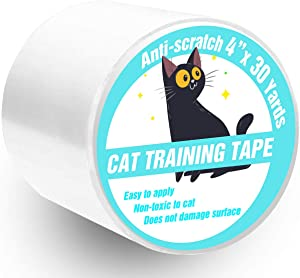 Polarduck Anti Cat Scratch Tape, 4 inches x 30 Yards Cat Training Tape, 100% Transparent Clear Double Sided Cat Scratch Deterrent Tape, Furniture Protector for Couch, Carpet, Doors, Pet & Kid Safe