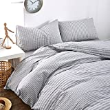Super Soft 3 Piece Duvet Cover Set 100% Natural Washed Cotton Striped Duvet Cover Queen Size Solid Grey Comforter Cover,Lightweight Breathable and Comfortable by HighBuy (Grey, King)