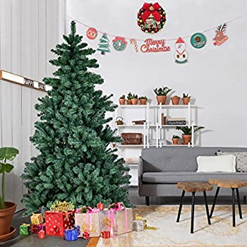 goplus 7 ft artificial christmas tree auto spread close up premium spruce hinged unlit - 7 Ft Christmas Tree
