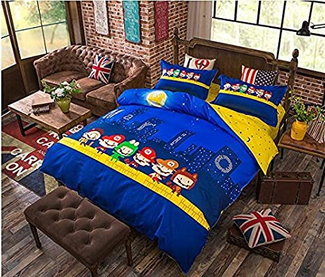 "4pcs Bedding /– 60/""x 80/"" Duvet cover, Flat Sheet, Pillow Cases. No Comforter Cartoon theme KFZ Postman Blue Color Twin Size Bed Set Quality Microfiber Soft 100/% kids safe Nova"