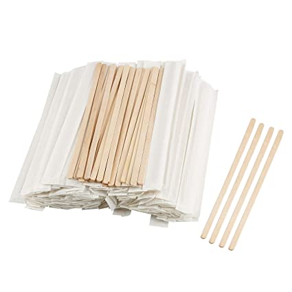 Wwyichen 200pcs 7 Inch Disposable Independent Wrapped Wooden Coffee Stirrers