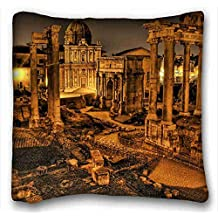 Custom Characteristic ( City italy ruins columns images vintage hdr ) Popular 16x16 inch One Side Pizza Rectangle Pillowcase suitable for Queen-bed PC-Yellow-4443
